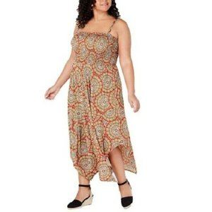 Love Squared 3X Yellow Print Maxi Dress NWT CW32